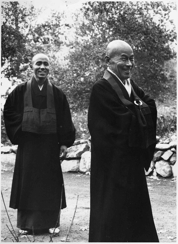 Shunryu Suzuki Roshi (right) invited Kobun Chino Otogawa Roshi (left) to the U.S. from Japan in 1967 in order to serve as his assistant at Tassajara Zen Mountain Center, which Kobun did until 1970. Kobun was integral in the formation of Santa Cruz Zen Center as well as other centers in the U.S. Please learn more about these ancestors at our  Root Teachers Page .
