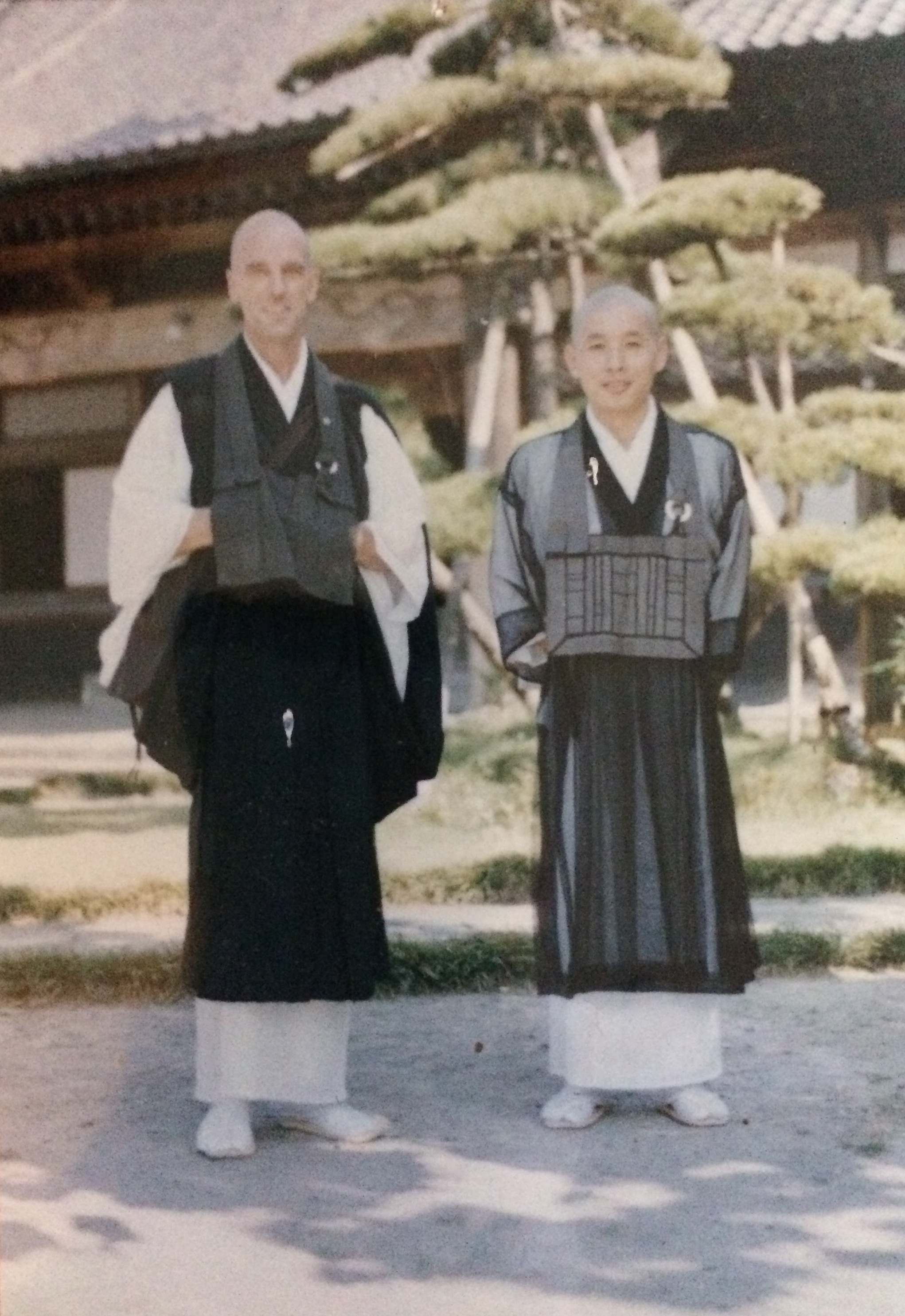Jim Goodhue (left), and a priest in Japan in the early 1970s.