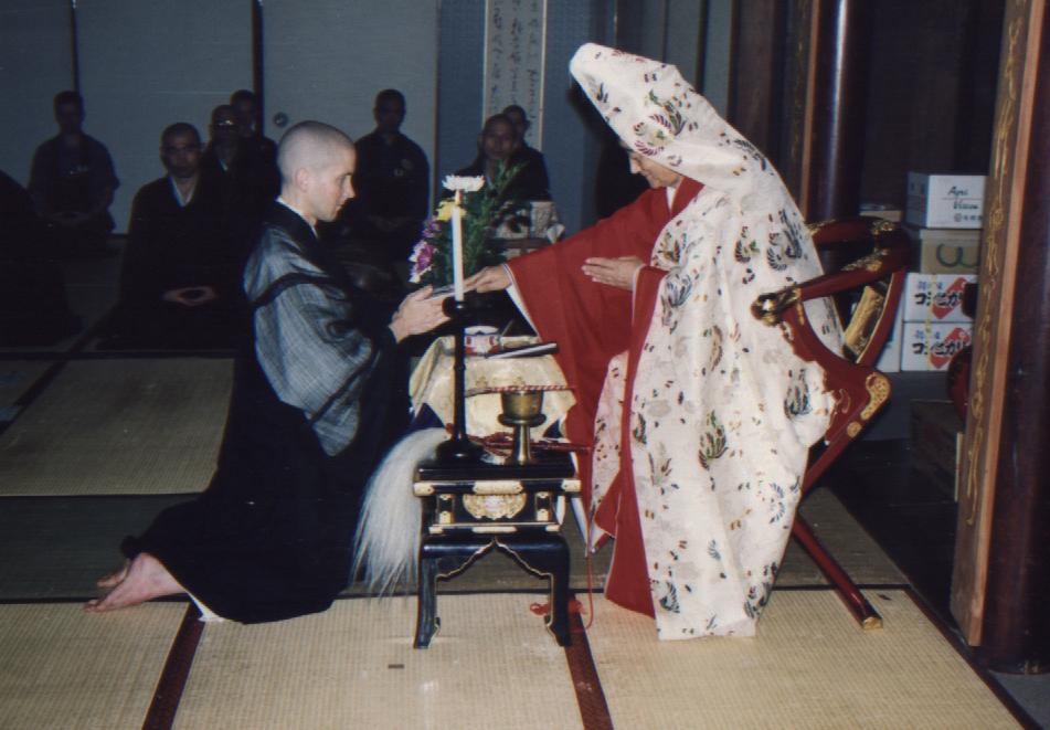 receiving the precepts again from Tangen Harada Roshi at Bukkokuji Monastery in Japan in 1997
