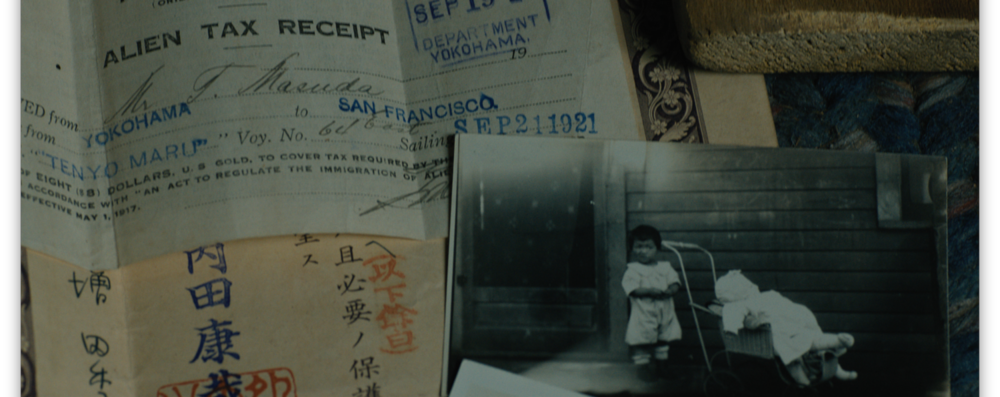 My grandparent's immigration documents, a photo of my mom, Mary Anna H. Takagi as a toddler.