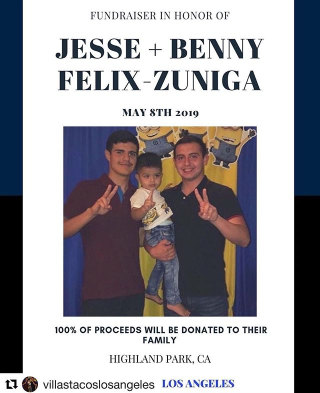 TONIGHT come down to York and Ave 51 from 6pm-10pm. Buy some tacos, be with your community, and most importantly help support a family who has unfortunately lost their loved ones too soon 🙏#Repost @villastacoslosangeles ・・・ We are a couple hours away from our fundraiser for the Felix-Zuniga brothers and we are ready. We spent all of yesterday and today prepping and we are ready. Not even some rain, a storm, hail, snow, thunder or even a fucking train can stop us right now. We bought a lot of meat because we are expecting a great turnout today. We didn't know the gents but man! can we see how special they were!  See you soon.  6-10 pm / York x Ave 51  And please, don't forget to respect the streets, the community and traffic.