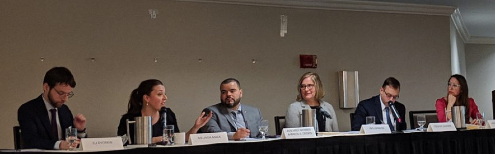 From left to right: Eli Dvorkin, Melinda Mack, Assembly-member Marcos a Crespo, Lois Johnson, Todd Oldham, and Annmarie Lanesey.    Photo Credit: Center for an Urban Future @nycfuture