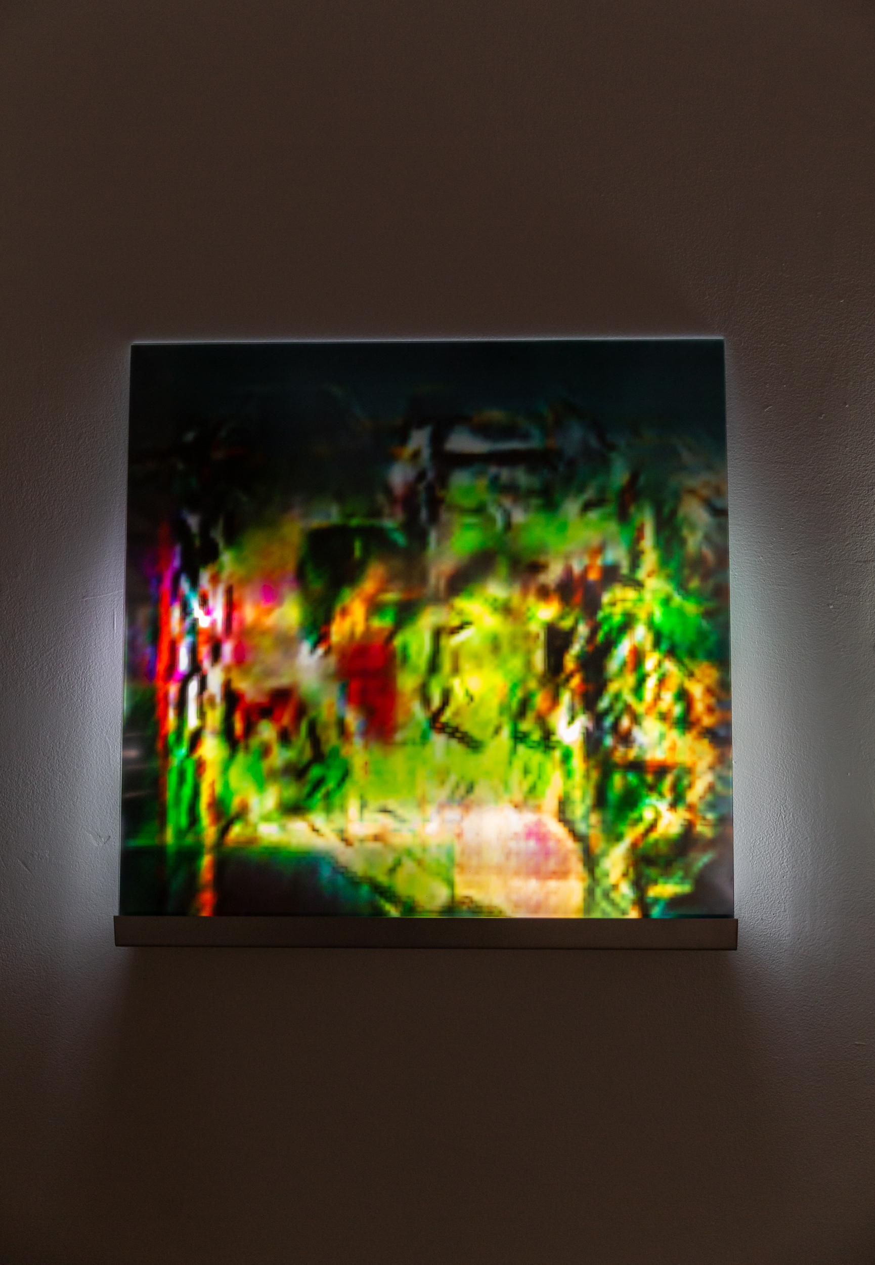 THE ACT OF BEING PRESENT AND HOLDING SPACE FOR AN ENTIRELY NEW WAY OF THINGS IS BEING/CURRENT(ROOM WITHOUT NEEDING TO PUSH THE TIME).  Inkjet Print, Acrylic, LEDs, Deep Convolutional Generative Adversarial Networks (Taehoon Kim), 24 X 24 X 4.5 in., 2019.