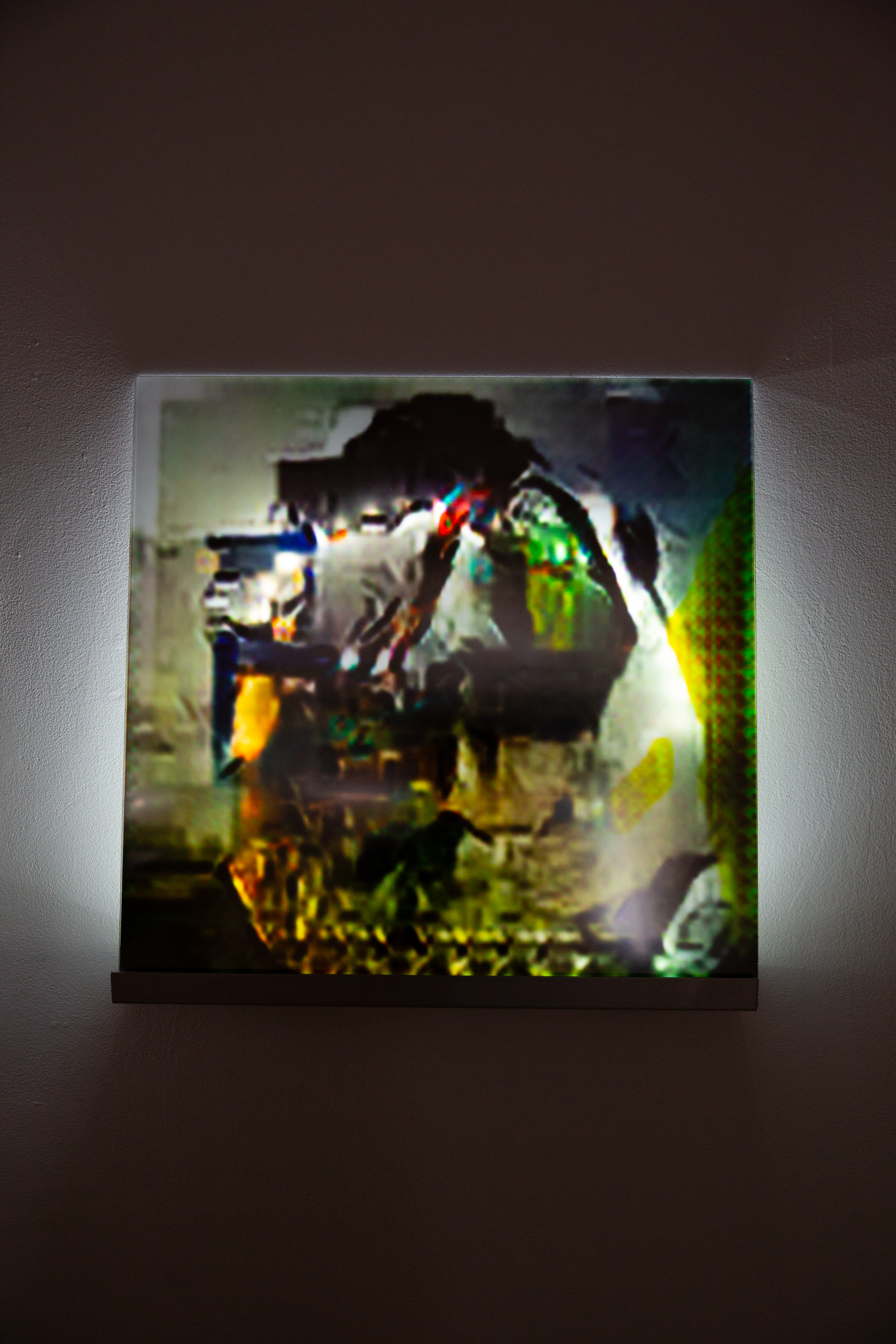 A SERIES OF DISTRACTIONS HAVE CONCEPTUALLY BEEN EXPERIENCE.  Inkjet Print, Acrylic, LEDs, Deep Convolutional Generative Adversarial Networks(Taehoon Kim), 24 X 24 X 4.5 in., 2019