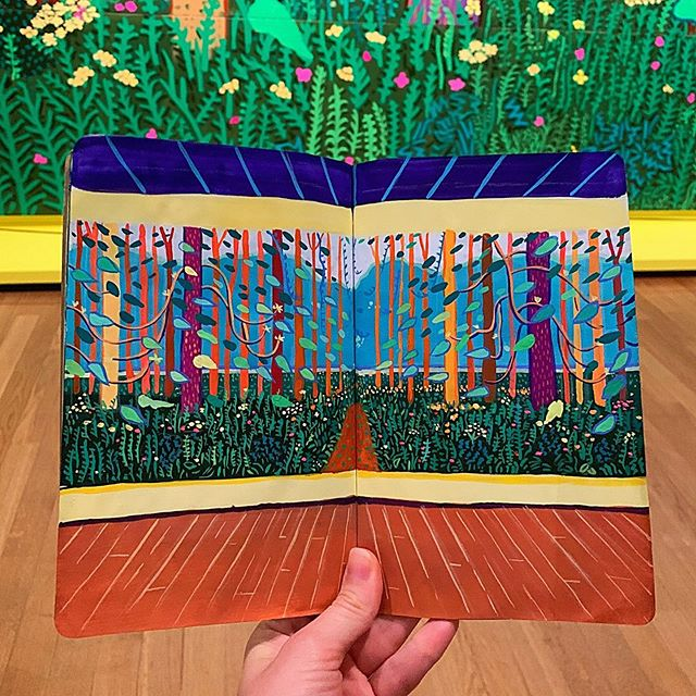 "When your favorite painting is by #davidhockney and you have a chance to see it in person... you bring your sketchbook 🌿 Pure ✨ . . . ""I knew landscape was seen as something you couldn't do today. . . Why? You can't be bored of nature, can you? And Van Gogh knew that."" - David Hockney . . . #contemporarypainting #museum #davidhockney #HockneyVanGogh #pattern #travelingartist #sketchbook #gouache #art #amsterdam #botanical #botanicalillustration #nature #travelsketch #inspiration"