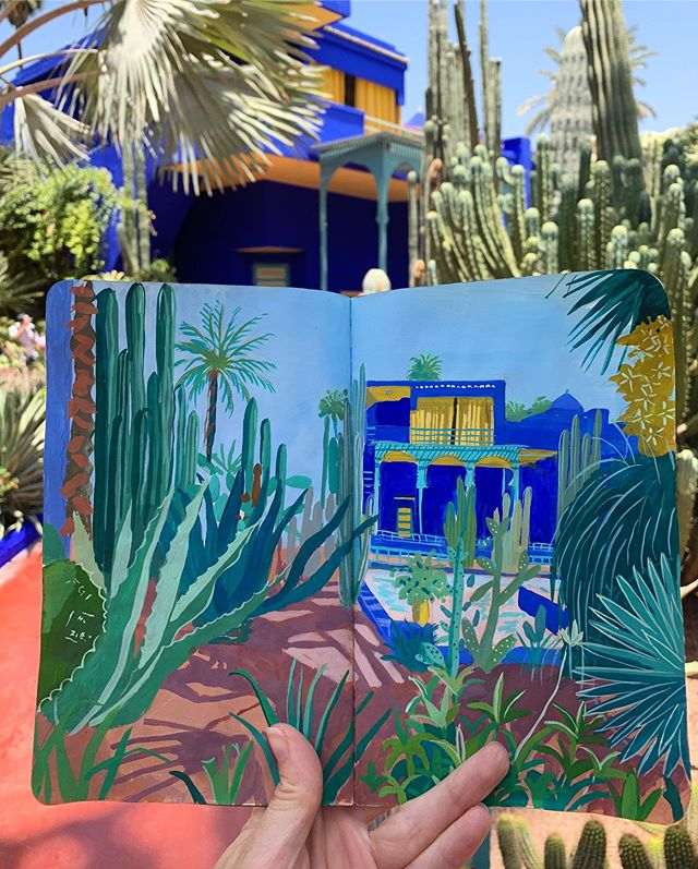 Walking through the paradise that is Jardin Majorelle. 🌵🌙 . . . .  I've been wanting to visit this garden for as long as I can remember. It just seemed to be the perfect combination of vibrant colors, plants, and mysterious meandering paths. It's everything I hoped it would be and more. The home was initially the studio of the French painter Jacques Majorelle and was later purchased by Yves Saint Laurent. Talk about studio inspiration🌵🌙🌵 . . . #travelsketchbook #travelsketch #travelingartist #cactus #blue #garden #jardinmajorelle #artiststudio #yvessaintlaurent #sketchbook #illustration #nature #architecture #contemporarypainting #botanical #botanicalillustration #art