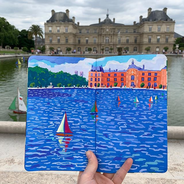 Always dreaming in Paris⛵️ . . . . . #contemporarypainting #travelsketchbook #travelsketch #landscapepainting #pattern #travelingartist #sketchbook #gouache #art #paris #nature #jardinduluxembourg #sailboat