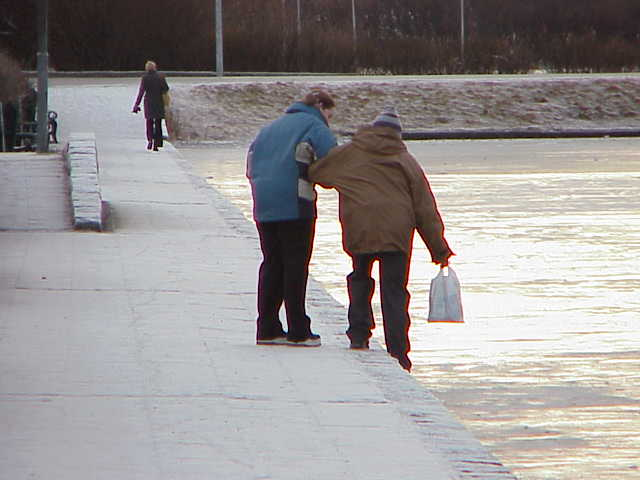 Iceland - Frozen Lake 02, Miff tests the ice.JPG