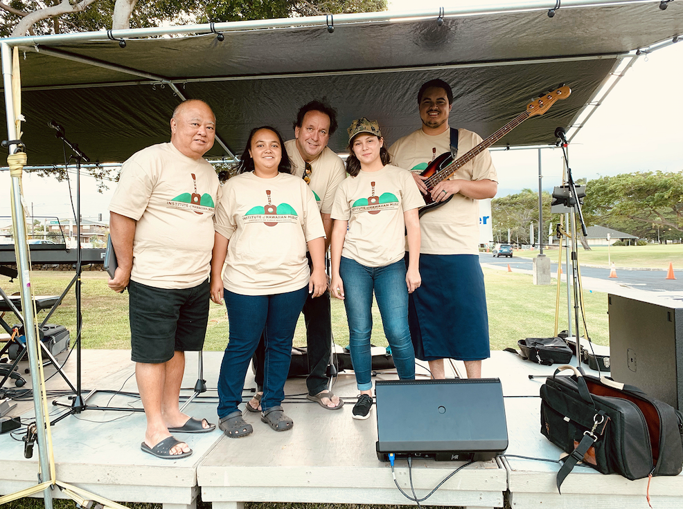 During the Maui Street Market, attendees were entertained by various Maui groups, including the Institute of Hawaiian Music  (pictured).