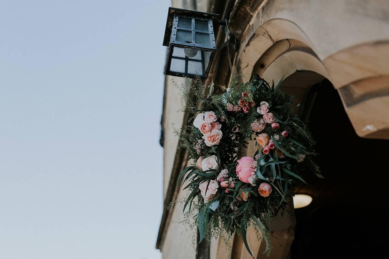 Flower wreath on church gate