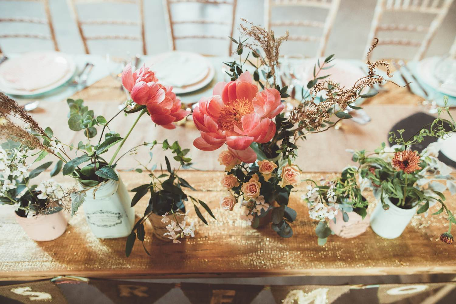 Pale pastel party flowers on table