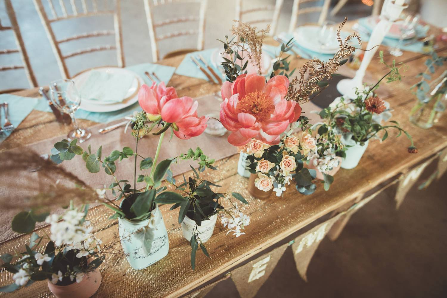 Pastel flower tablescape on wedding table