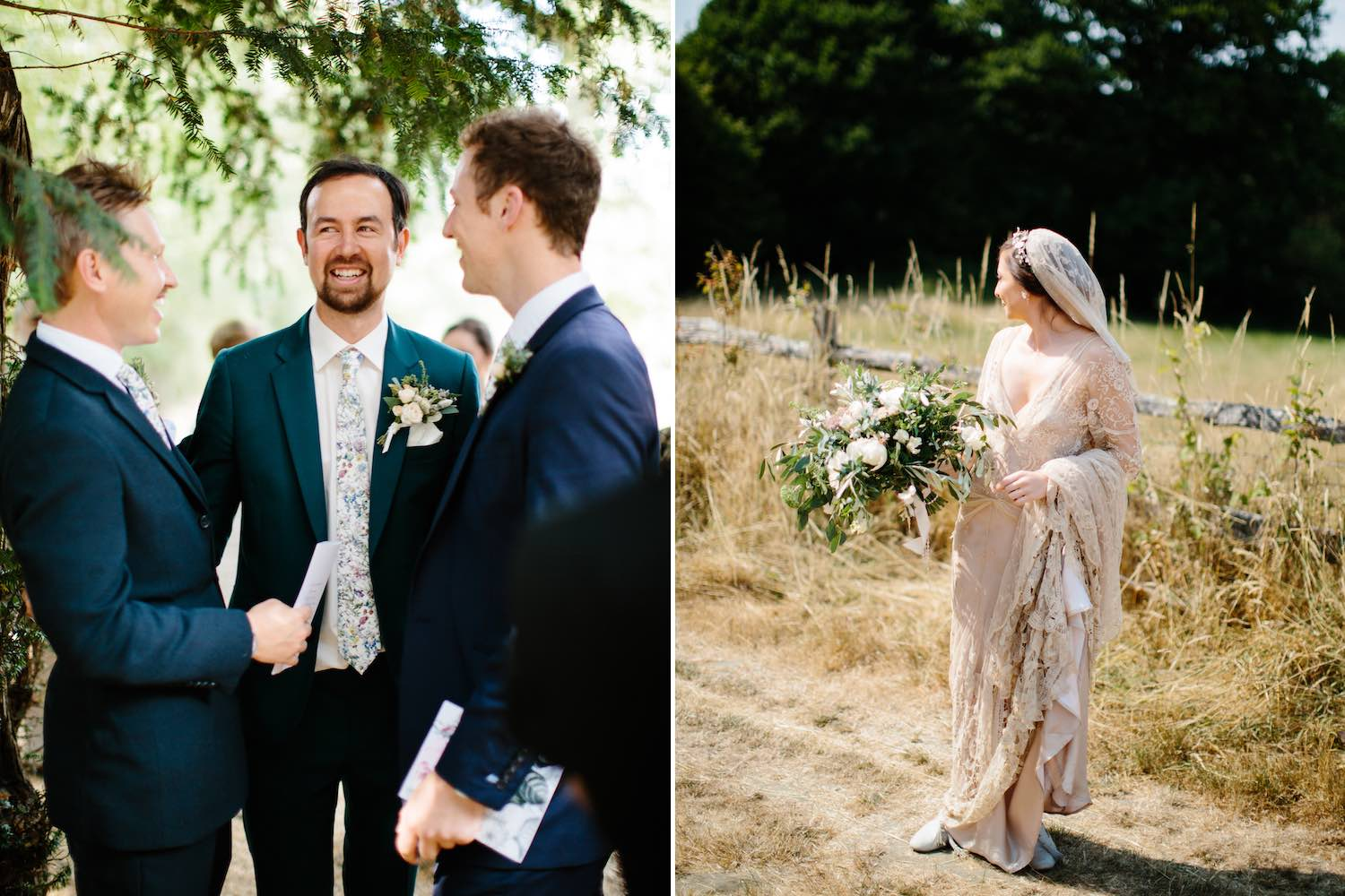 Grooms outside church and bride holding flowers in summer field