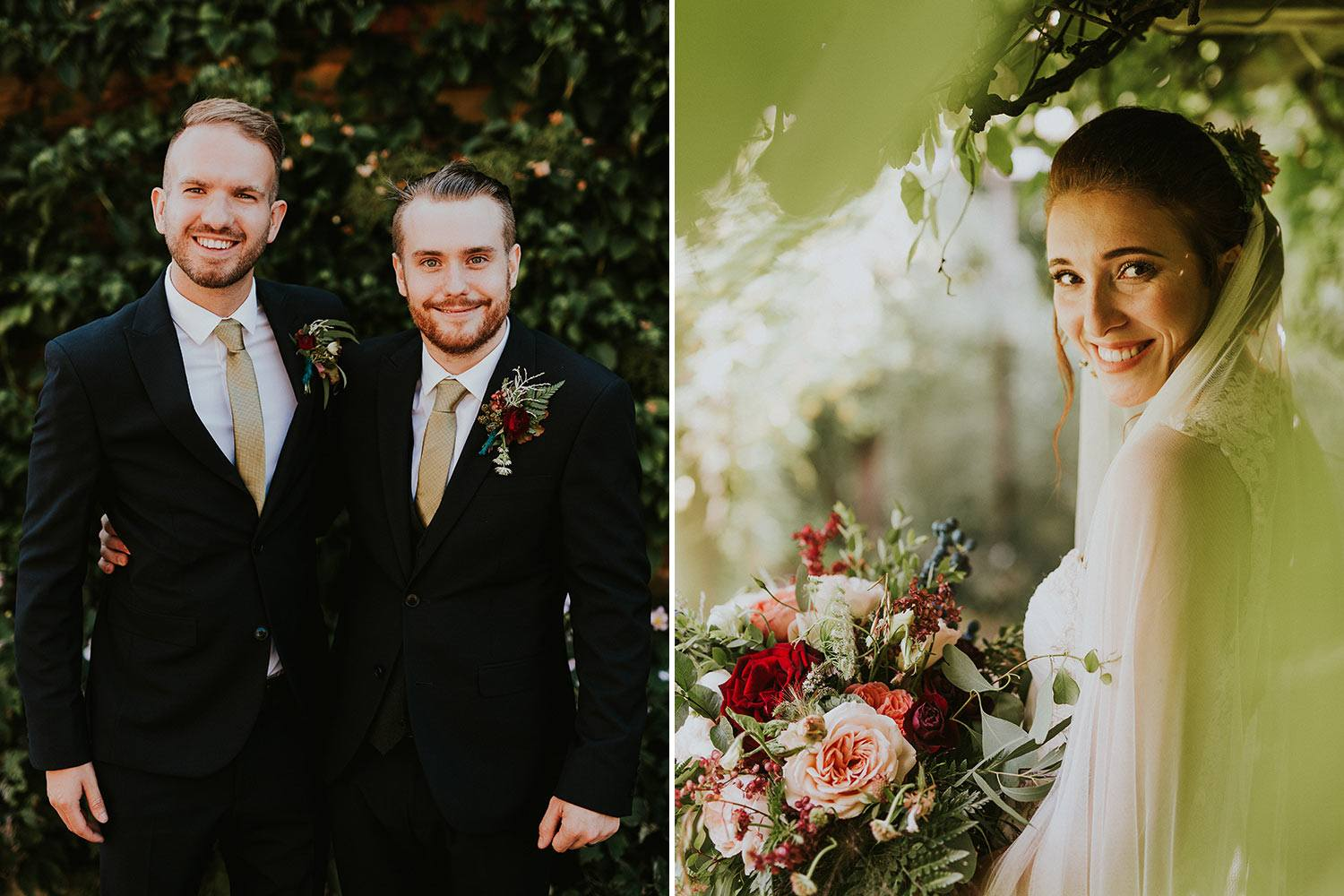 Groom with groomsman and bride with bouquet