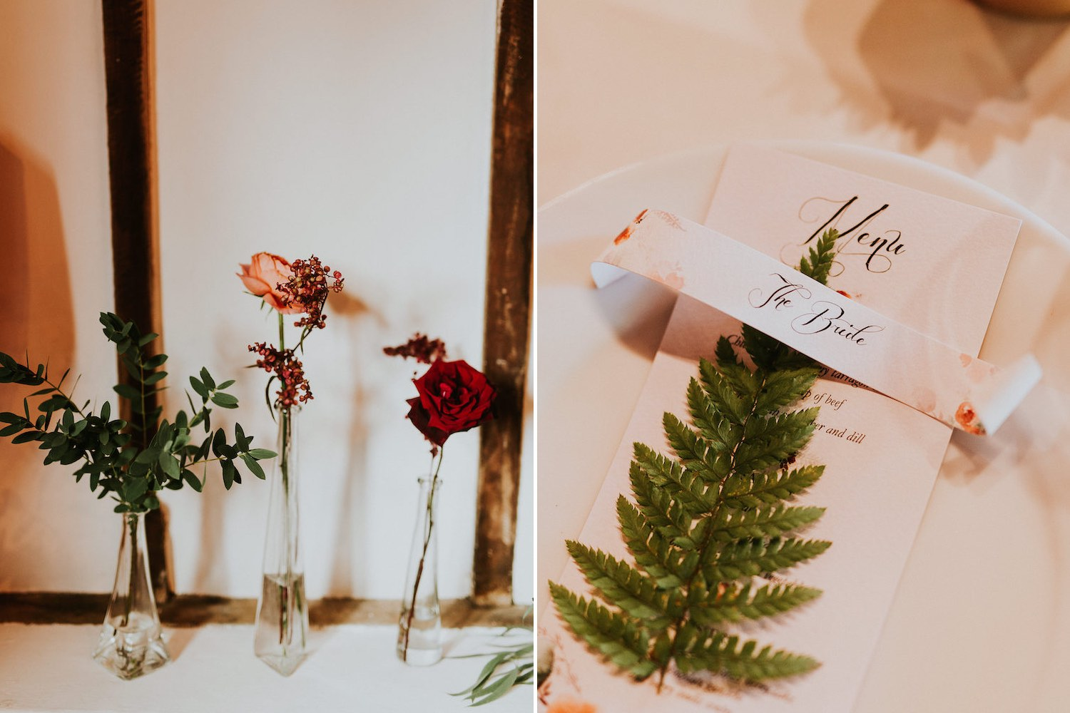 Flowers in vases and fern table setting