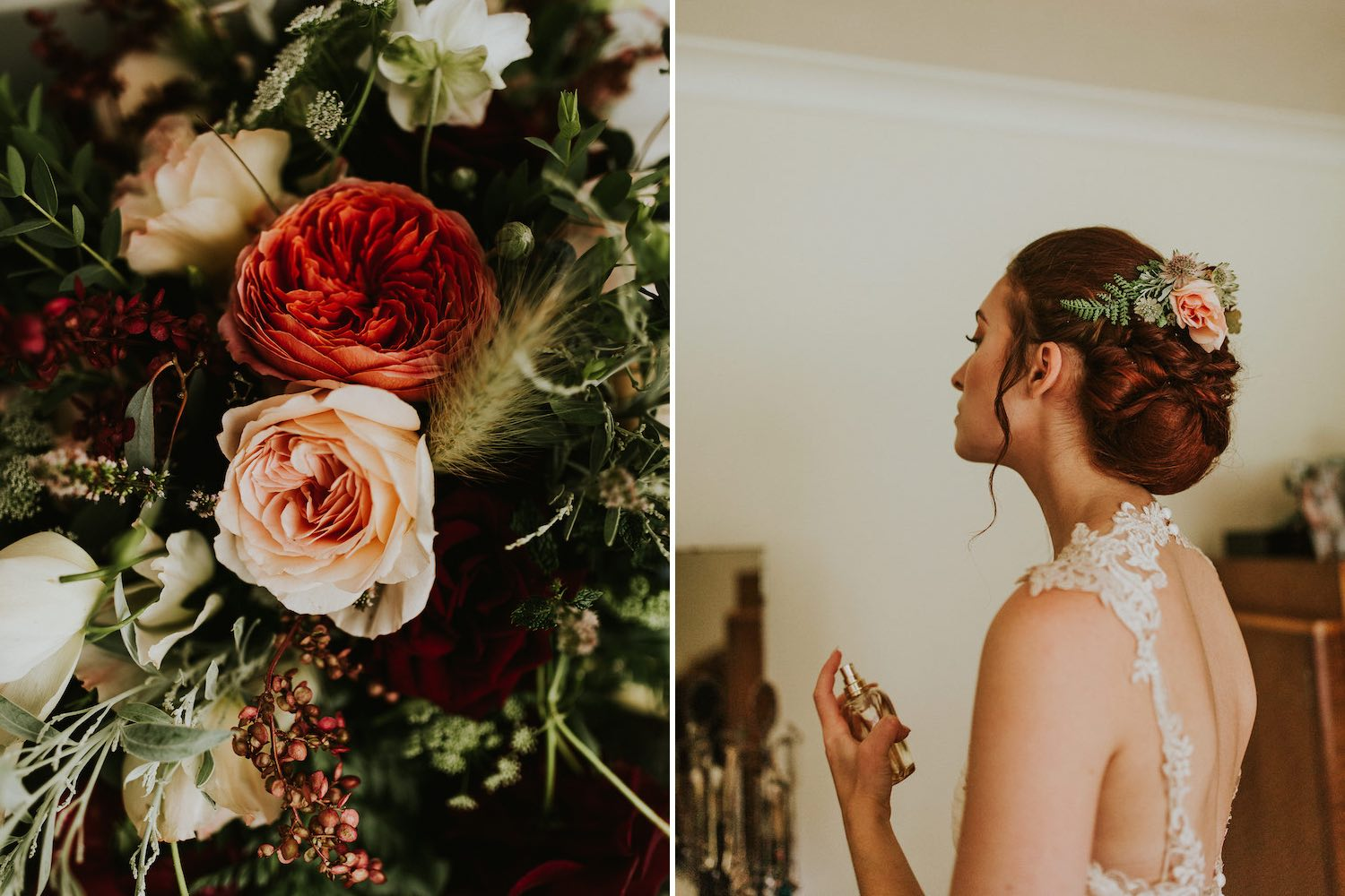 Bride getting ready for wedding with flower clip and bouquet
