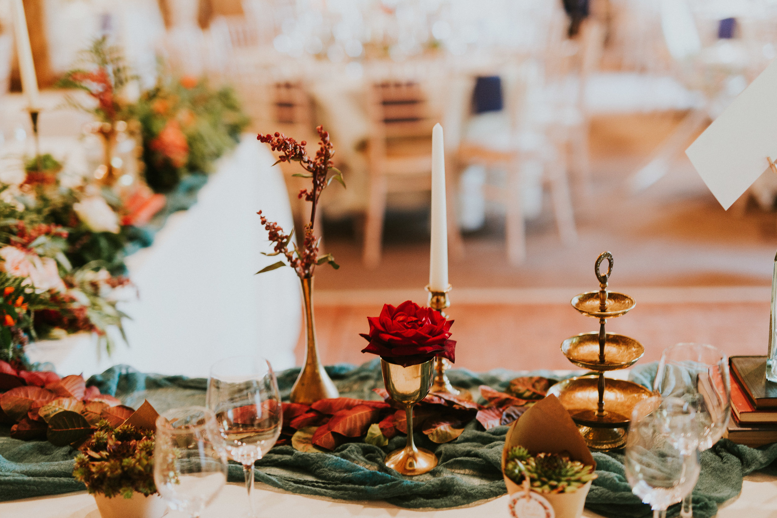 Woodland themed wedding reception tables
