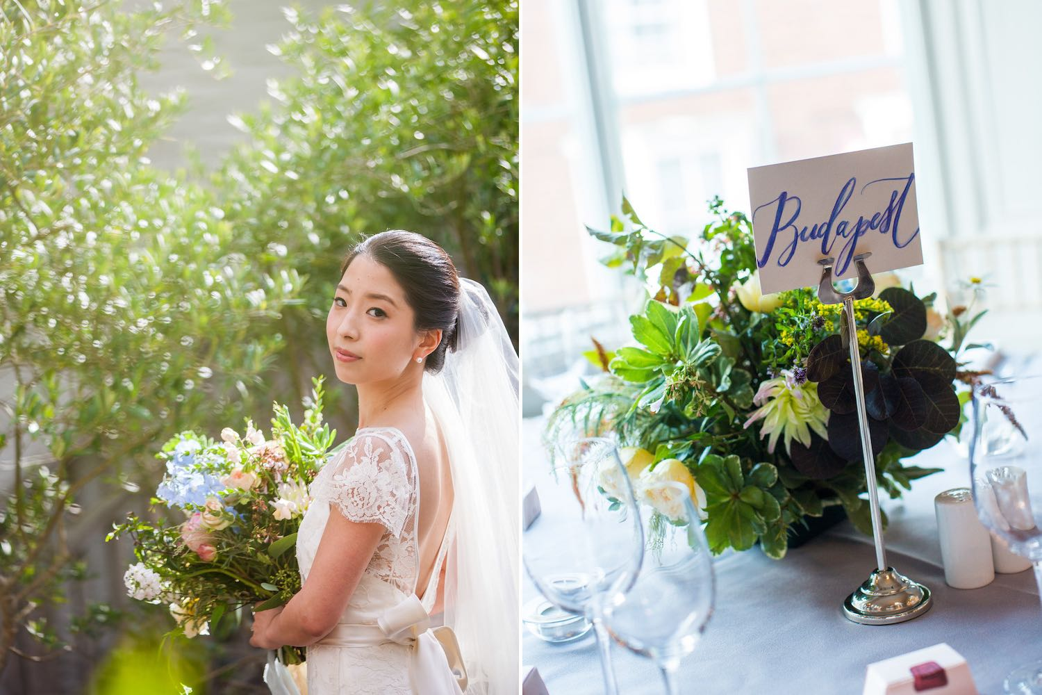 Bride with bouquet and rustic table flowers