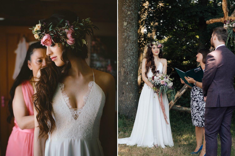 Bride getting ready for wedding, wedding ceremony in woodland