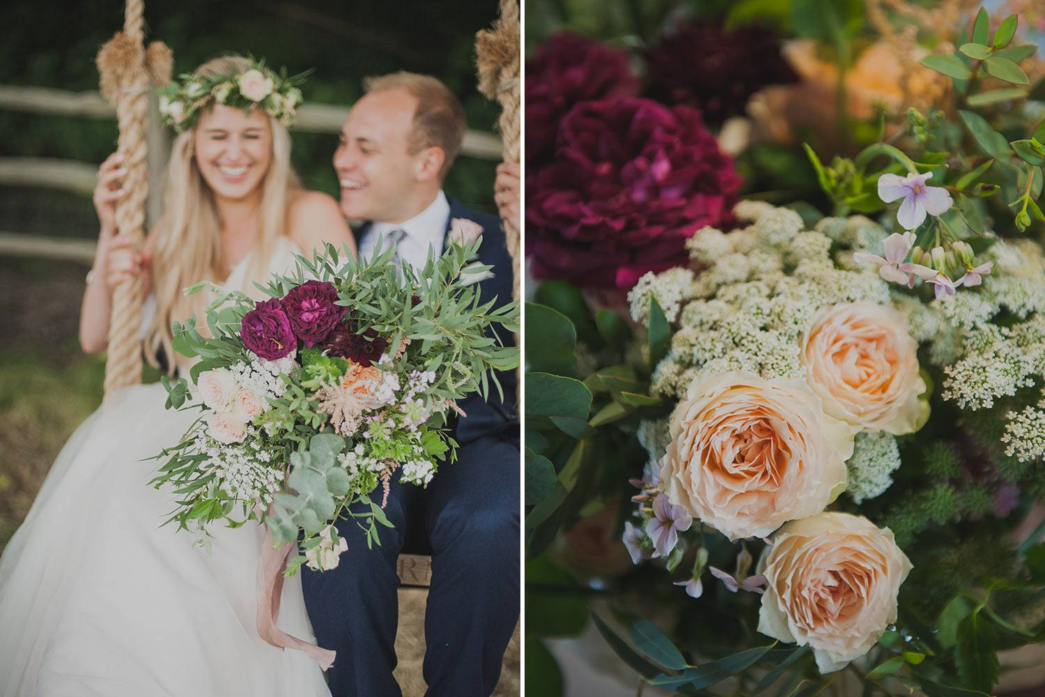 Bride and groom on rope swing and bouquet with roses