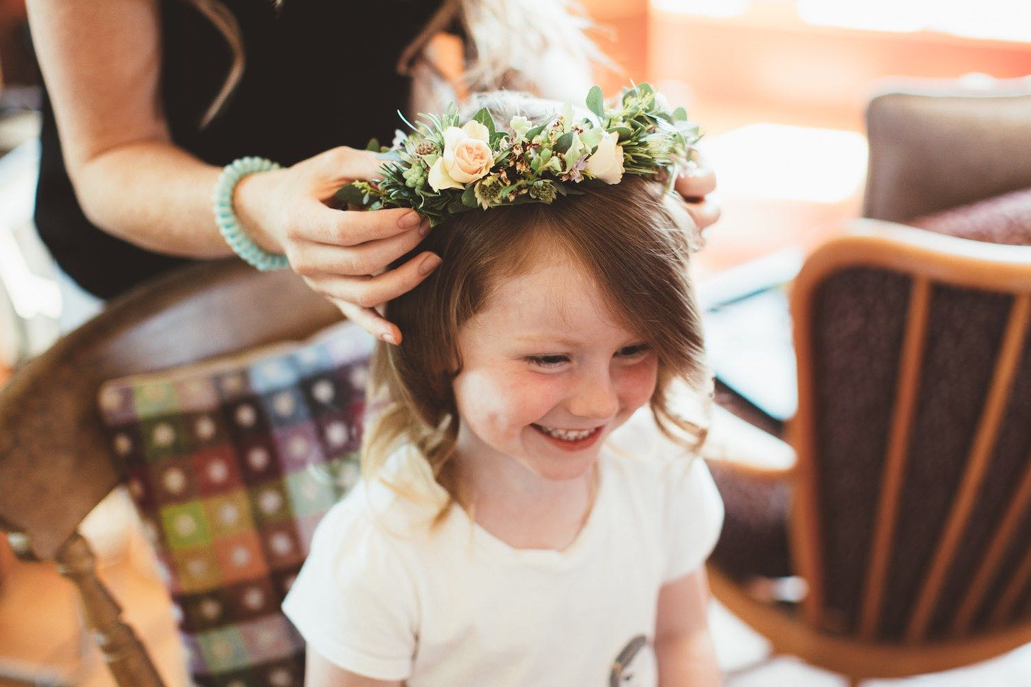 Flower girl with rose flower crown