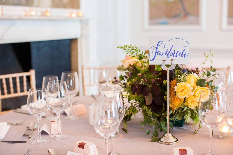 Autumn wedding table centrepiece
