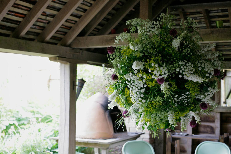 Hanging flower globe in the hovel