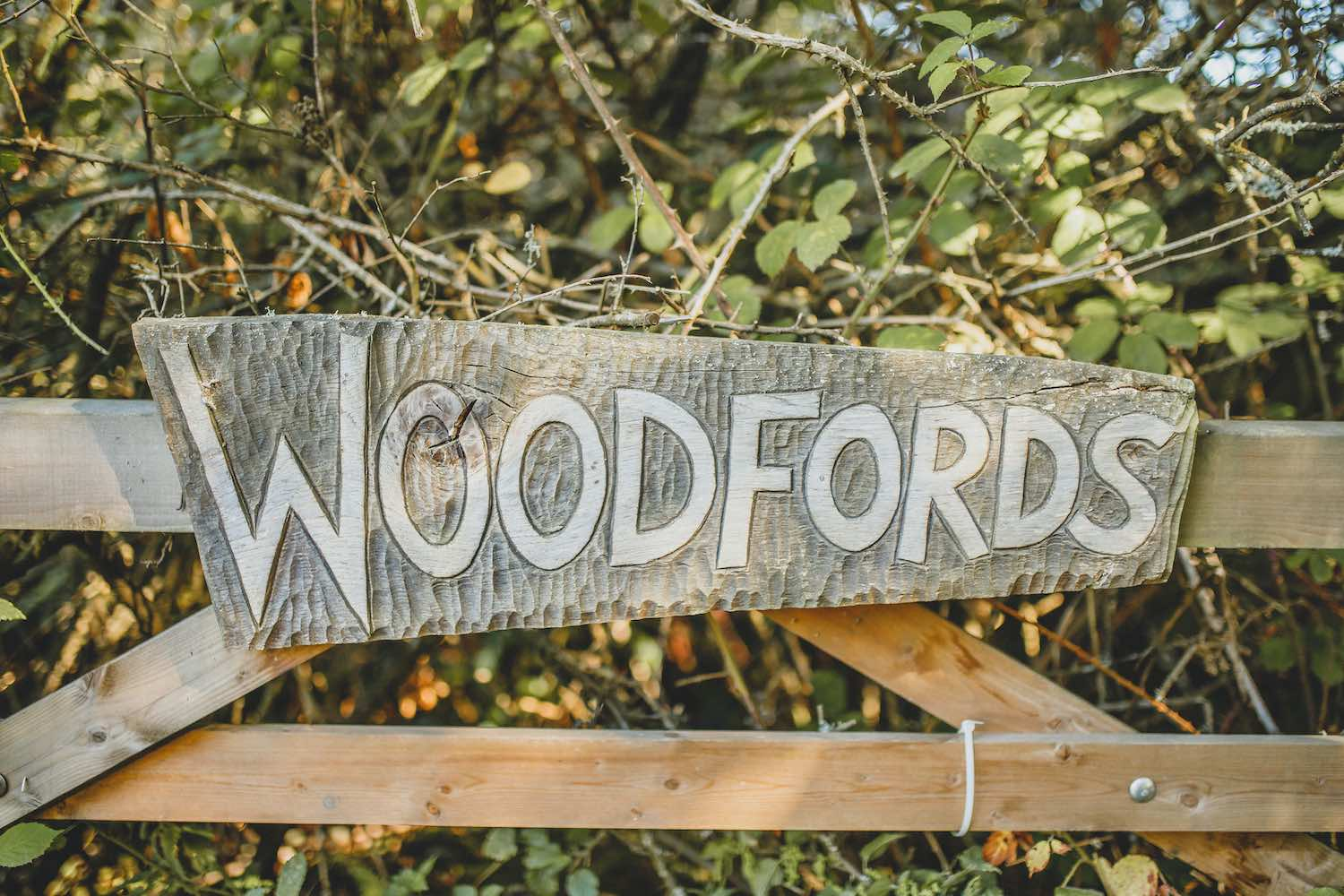 Woodfords sign on farmgate
