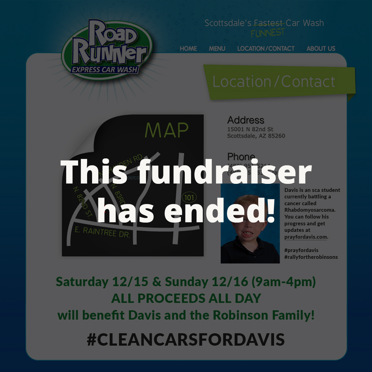 Road Runner Express Car Wash - ALL PROCEEDS ALL DAY on Saturday 12/15 & Sunday 12/16 are being donated to the Robinson Family! Thank you, Anderson family!