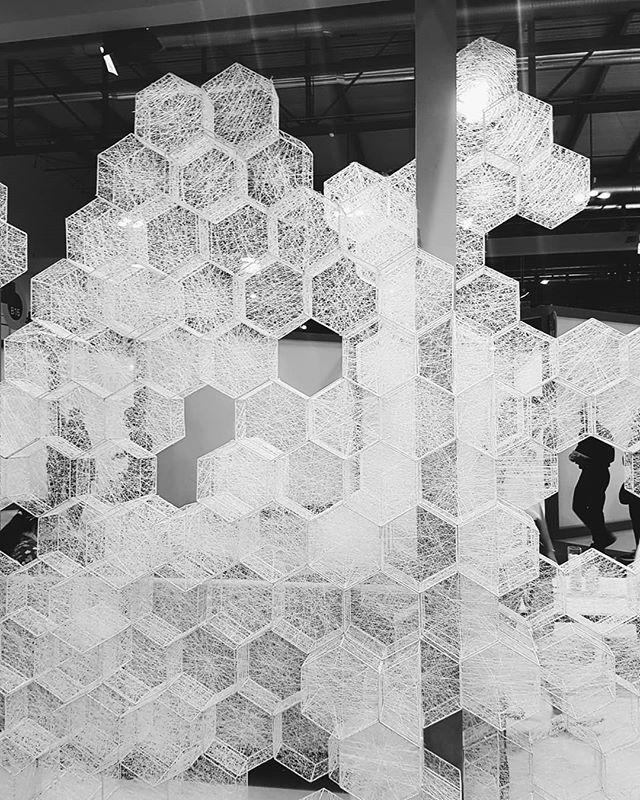 Webbed hexagon wall divider from #salonesatillite2018