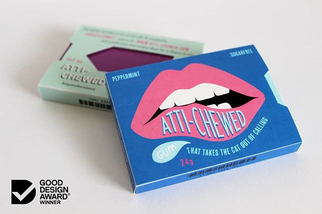"""I am absolutely thrilled to finally announce that I was a awarded a Good Design Award in the Next Gen category last night for my product and packaging design 'ATTI-CHEWED: gum that takes the cat out of calling'. This product aims to subvert the value of cat calling and make women feel safer when walking alone in the city at night. Quirky, subverted cat calls and comebacks are written on the gum wrappers in order to raise awareness about street harassment and create a platform where the issue can be discussed in an informal manner.  This concept stems from my belief that every human being should have the right to feel equal and safe in this world. I wanted to create a tangible solution that could potentially shift social attitudes and behaviours. The product name symbolises the """"chewed lip"""" branding as well as users promoting their attitude towards street harassment.  Thank you to @gooddesignaus for this high honour and to all my tutors and friends at UTS for your feedback and support along the way. @utsengage @utsdab  #design #designer #majorproject #goodesignawards #gooddesignaward #gooddesignaustralia #productdesign #productdesigner #socialimpact"""