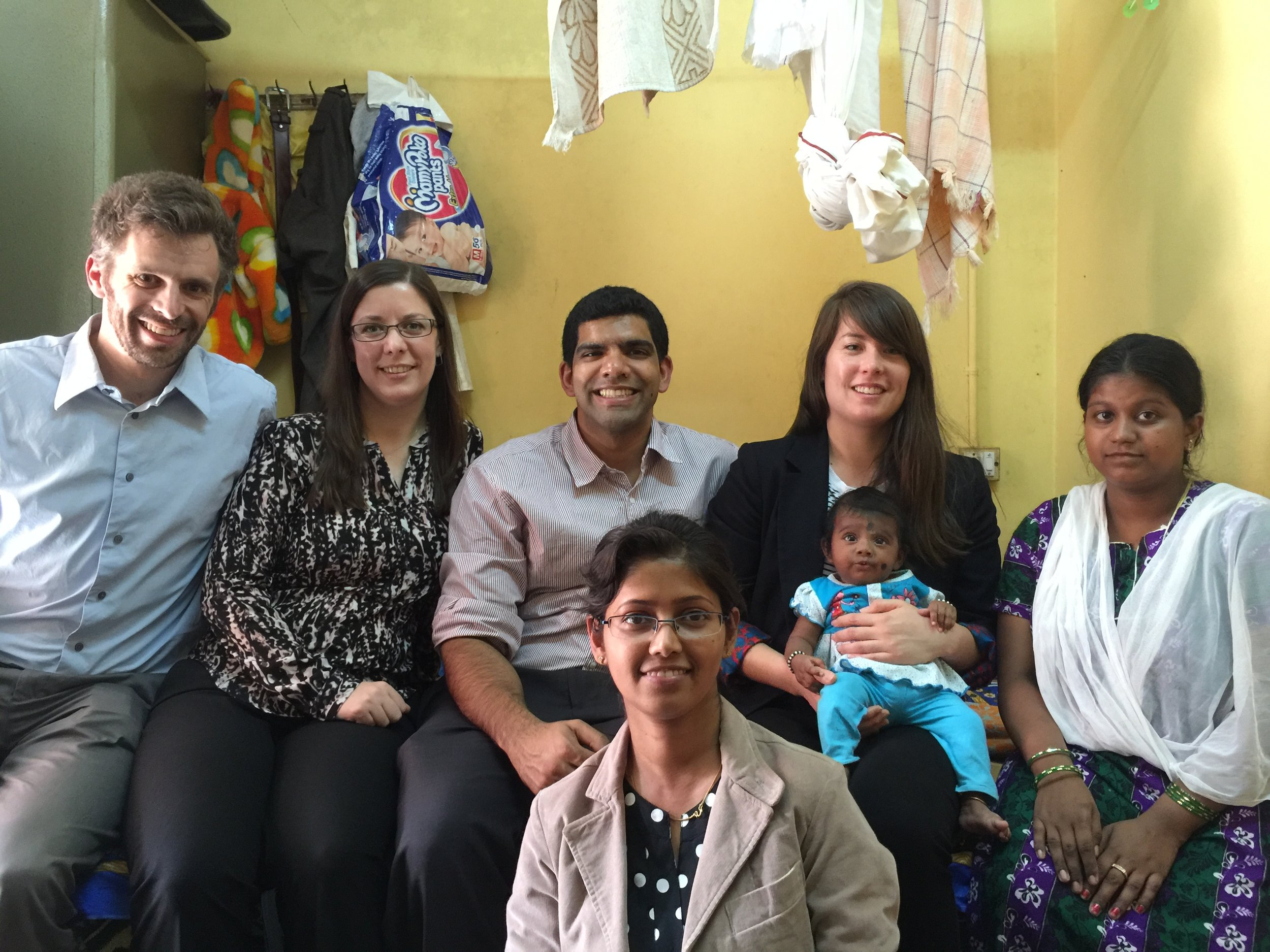 Visiting our first BEMPU TempWatch baby, Rithiksha, with team members from Grand Challenges Canada and Villgro.