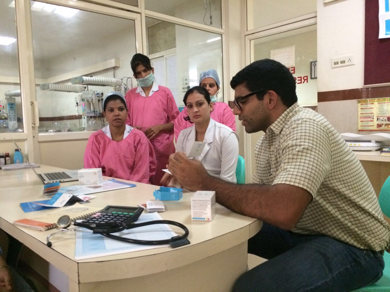 Ratul Narain, our founder, training a group of doctors and nurses for a study in Madhya Pradesh, India.