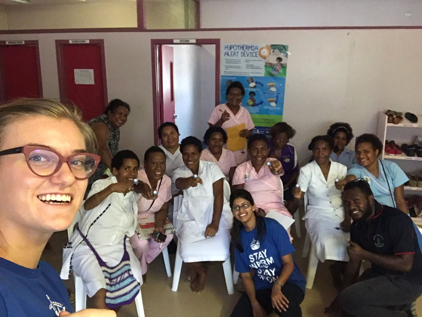 Annika Gage and Mona Sharma conducting a training session with nurses in Papua New Guinea.