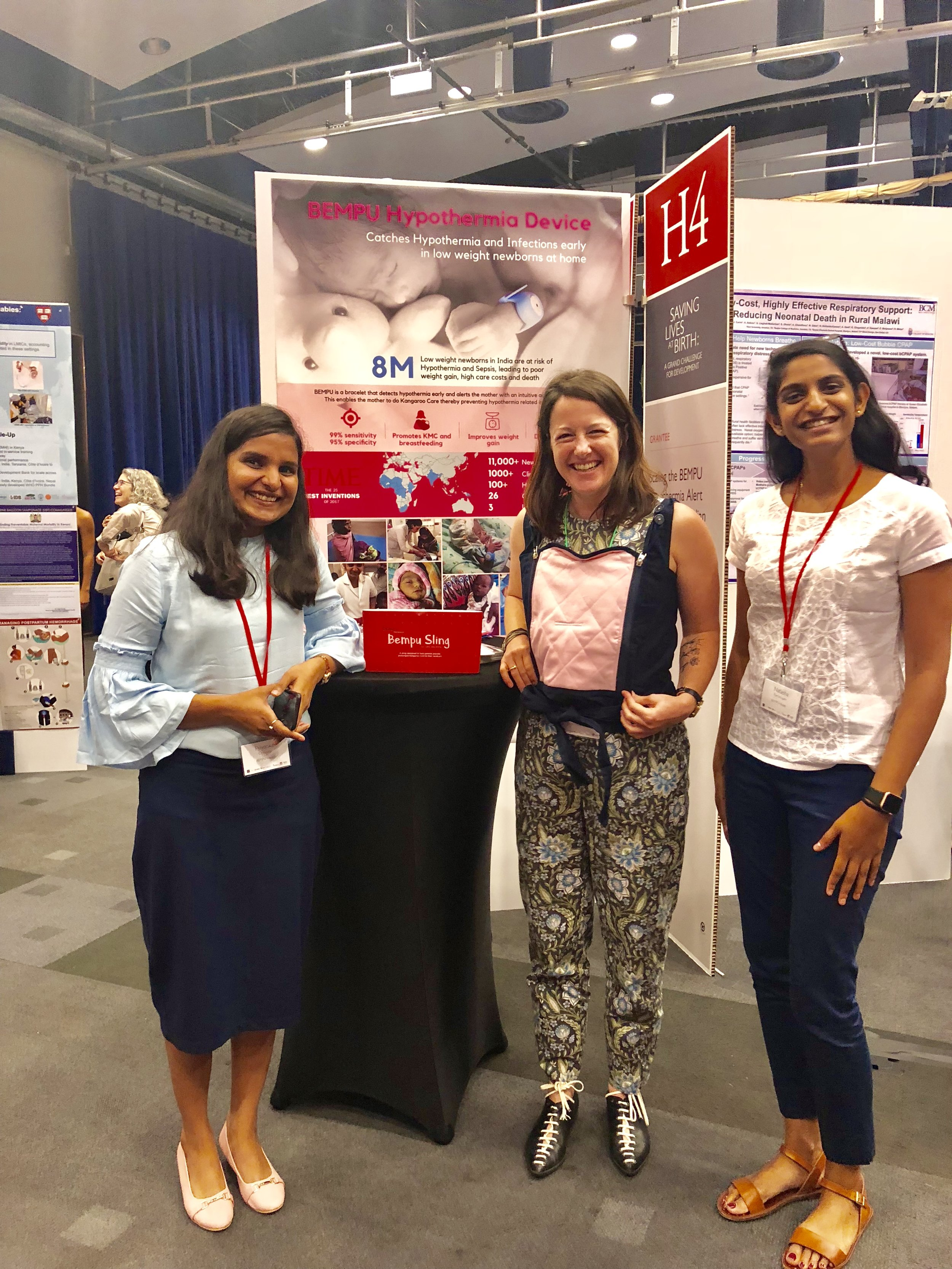Priyanka Choubey and Natasha Ramanujam Karlee Silver from Grand Challenges Canada as she wears the BEMPU KangaSling.