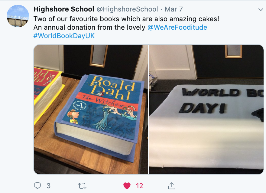 We make cakes for International Book Day every year