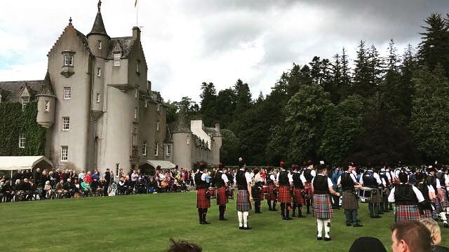 @Ballandalloch Castle feeling patriotic as the pipes play...