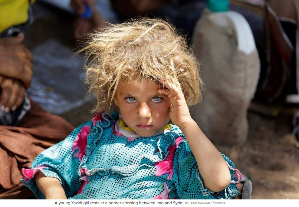 """The story behind this haunting photo of a Yazidi girl fleeing ISIS     After seeing this photograph posted online in August, I emailed the photographer, Youssef Bouldal, and he told me  what he knew about the girl .    """"I wonder what will become of her. I wonder what will become of all the others.""""    (Photo:  Youssef Bouldal/Reuters )"""