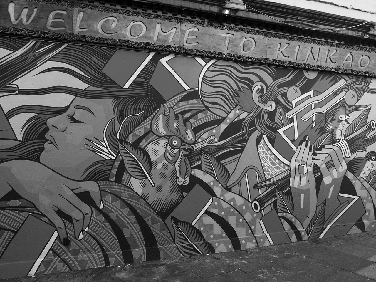 New mural on the side of Kinkao Thai Restaurant, Brick Lane.