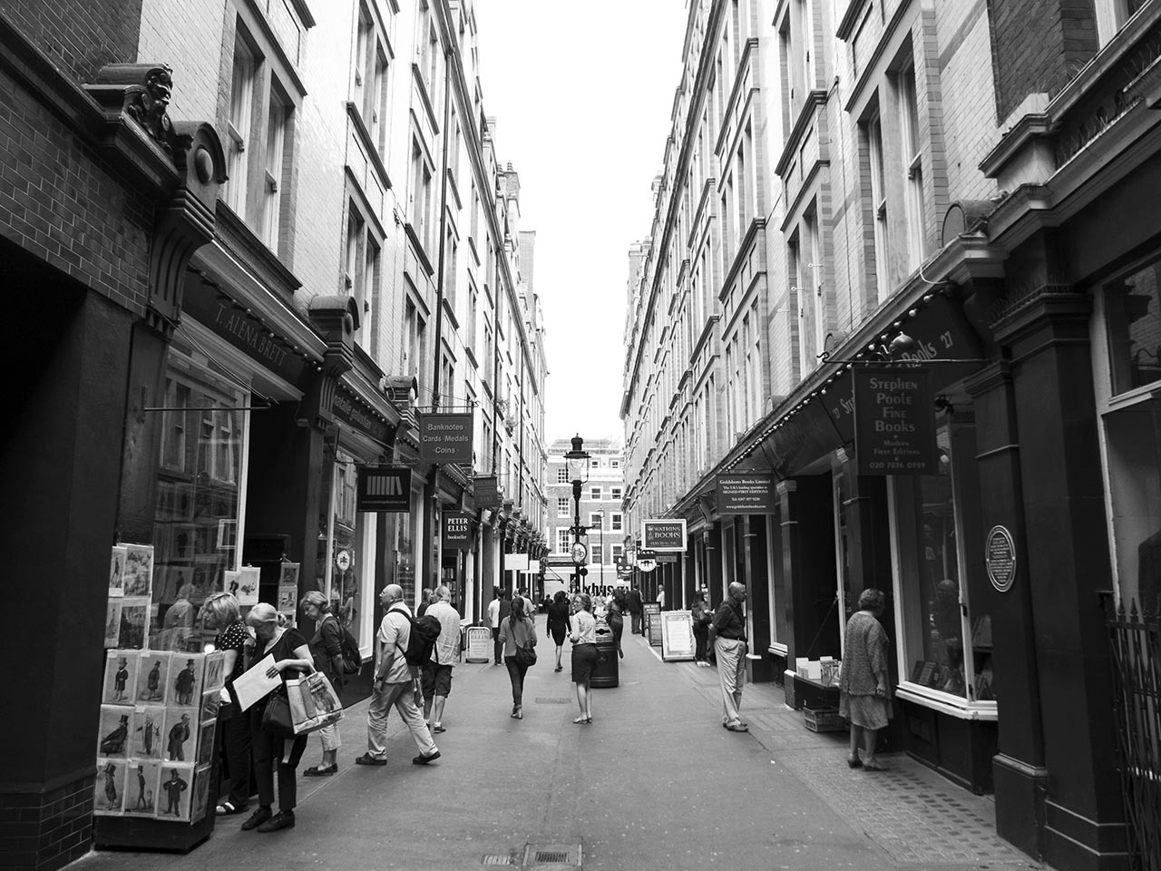 Cecil Court, London.     Home to half a dozen rare and antique bookstores. One of my favourite streets in the city.