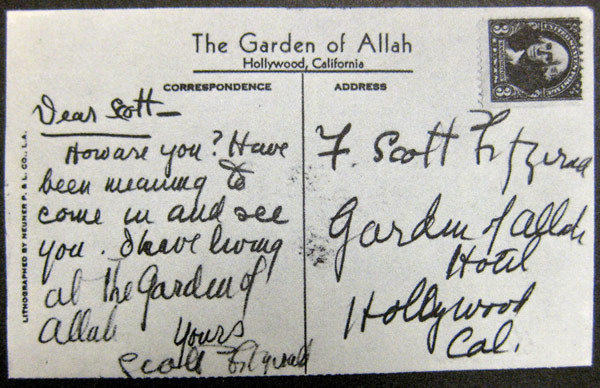 A postcard from F. Scott Fitzgerald, to himself.    Guess the 'F' stands for 'Forever alone'. Sigh.   See more postcards  from famous authors here .