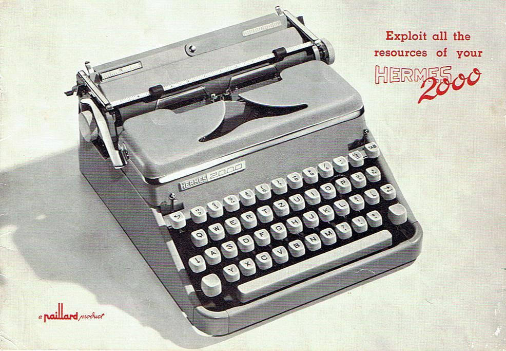 Hermes 2000 Typewriter. Got one of these for Christmas. Oh, yes.      William Gibson wrote Neuromancer on one of these. Best. Present. Ever.