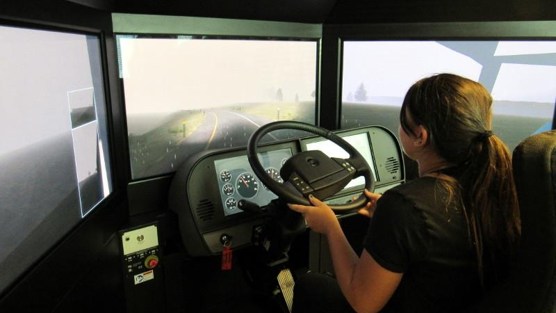 A new Transportation Officer tests her skills in our state-of-the-art driving simulator.