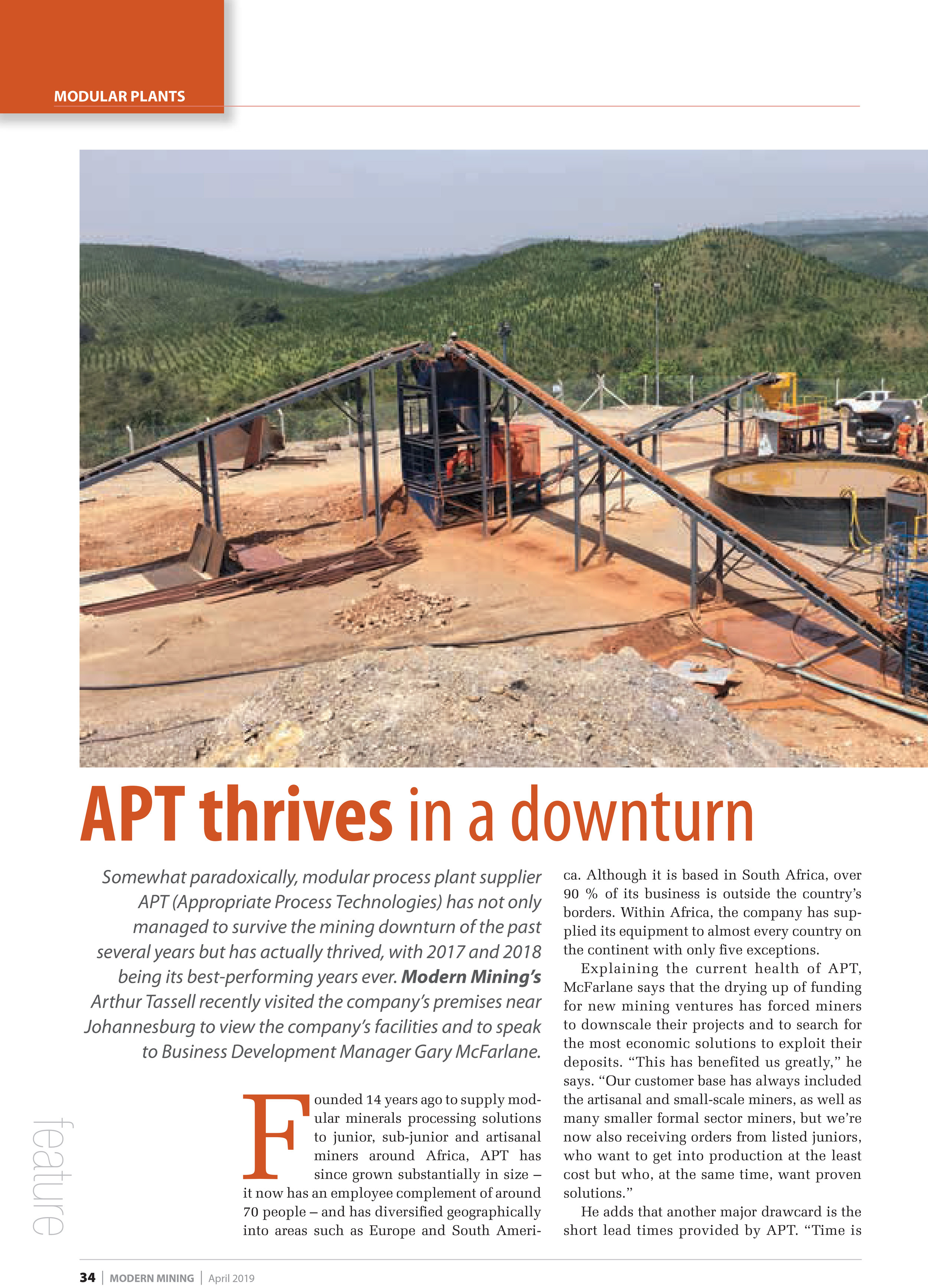 Credit to Modern Mining, April 2019 issue, Page 36