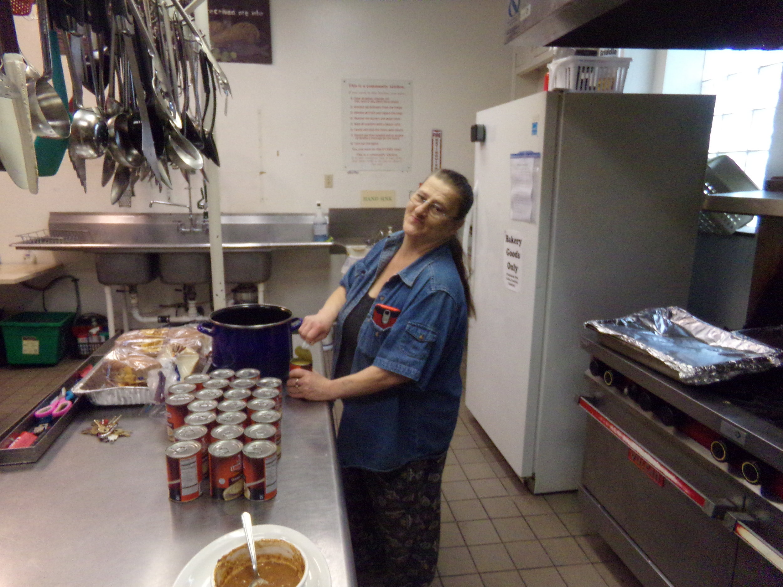 Debbie Coleman, Director of Food Ministries, prepares, along with her team of volunteers, up to 600 meals a month.