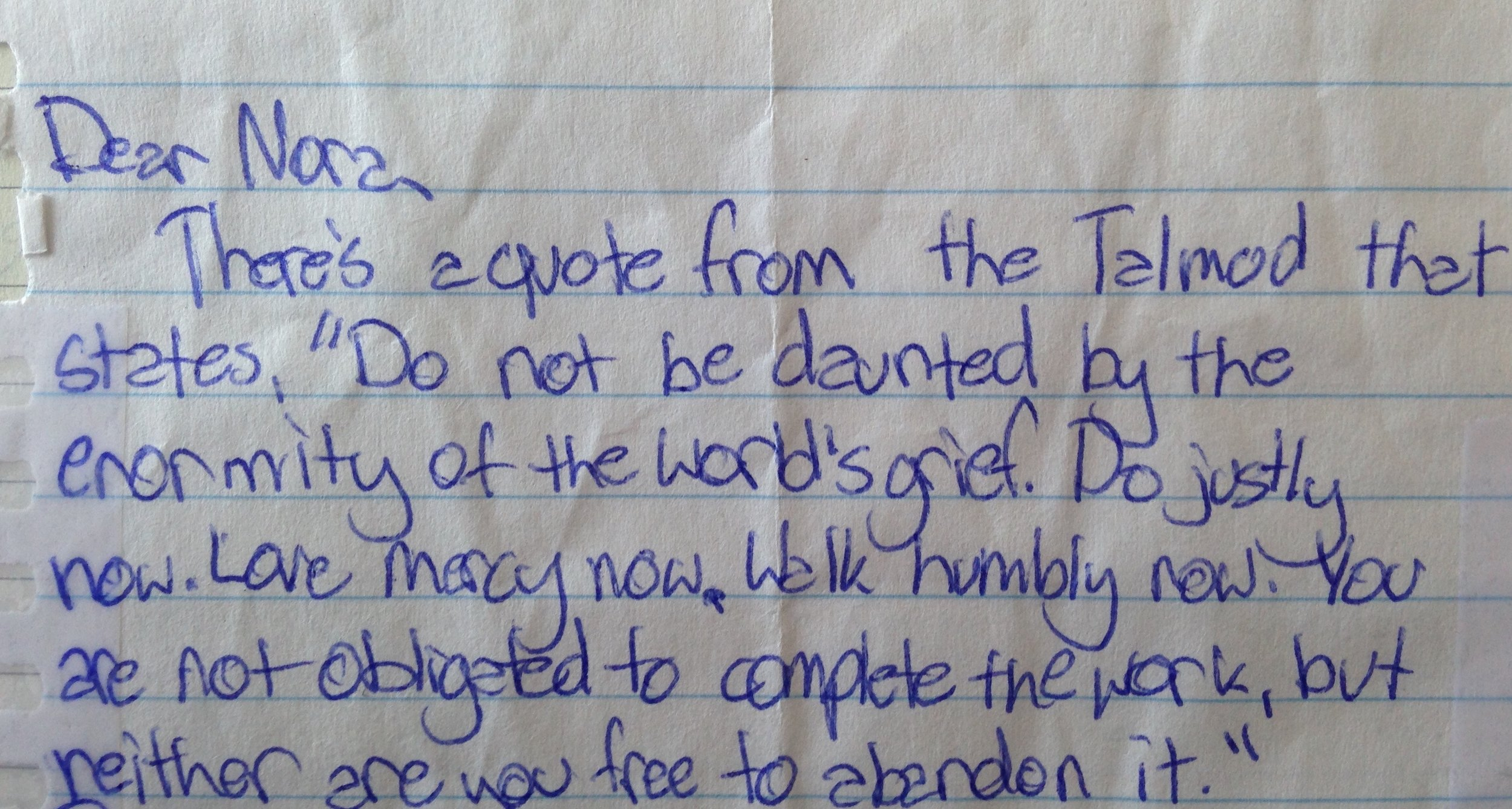 Note from a student