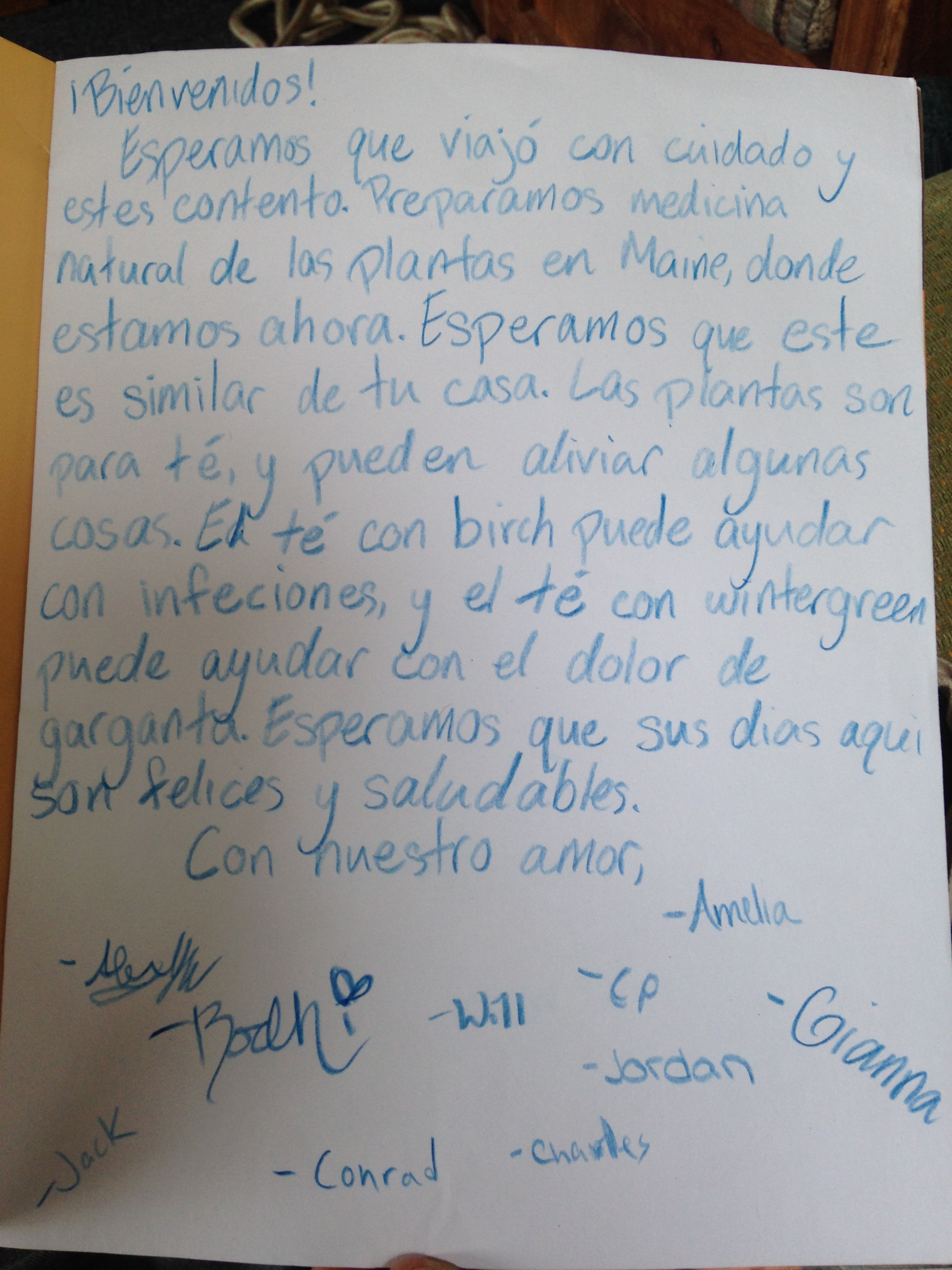 Letter from Outward Bound students for herbal medicine collection service in the Maine woods