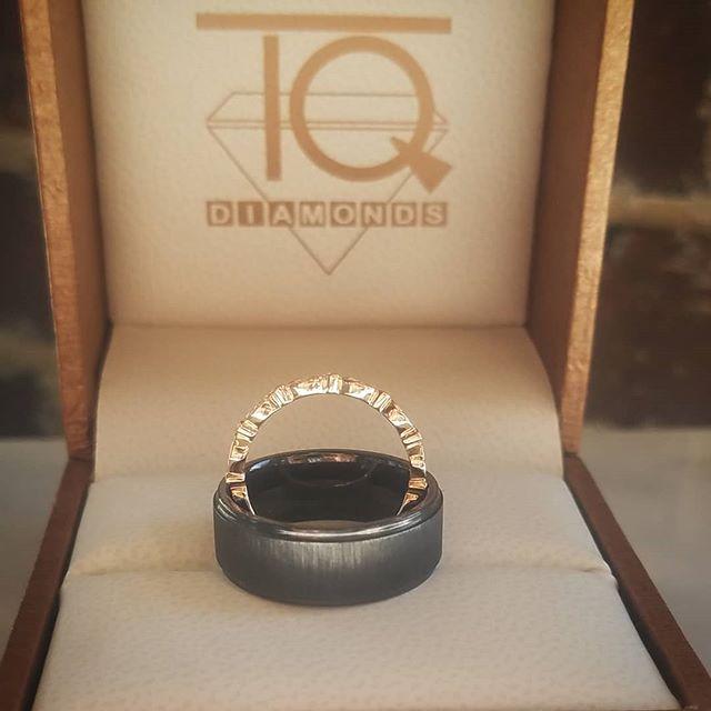 #texture all around! #hisandhers #ido #weddingrings #alternativemetal #rosegold #weddingring