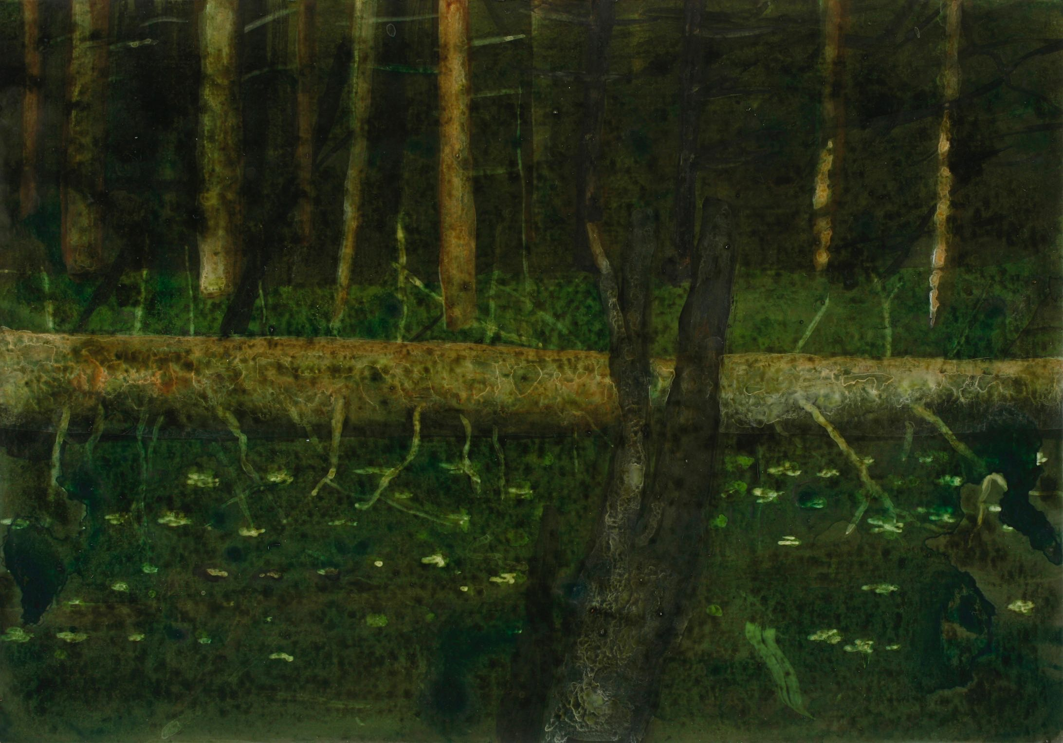 Skisse, skoglandskap  17,5x25,5cm akryl/tusj på kartong 2007
