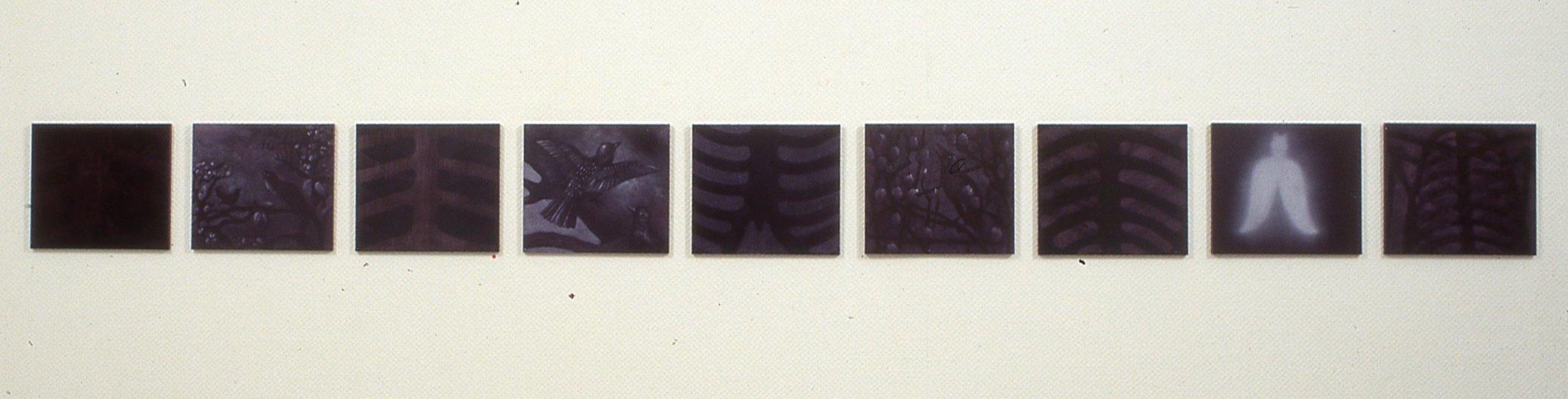 Om natten  serie 1-9 27x31cm olj/akryl på plate 2000